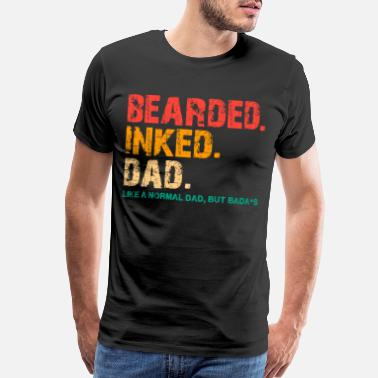 Inked Bearded Inked Dad Vintage Funny for Daddy Papa - Men's Premium T-Shirt