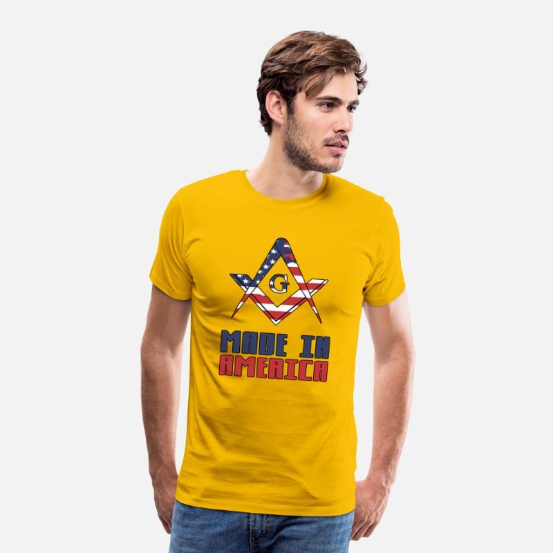 Made In America Masonry Proud Mason's Gift Idea Men's Premium T-Shirt - sun  yellow