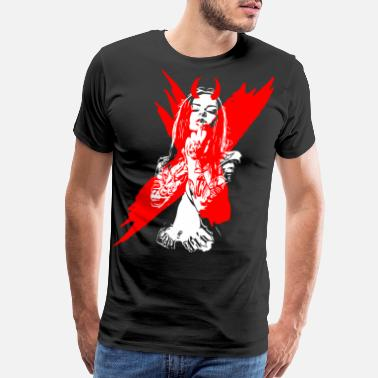 Devil Horns 2reborn bad devil girl sexy demon tattoo devilish - Men's Premium T-Shirt