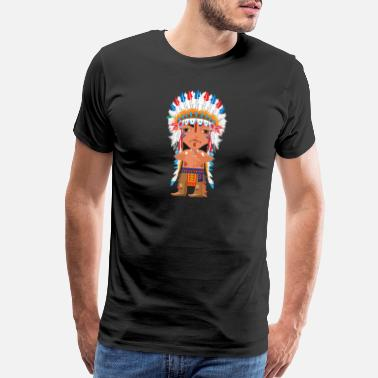 American Indians Cartoon American Indian chief leader vector illustration - Men's Premium T-Shirt