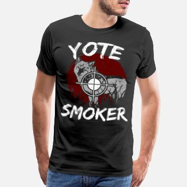 Coyote Coyote Hunting Yote Smoker Predator Hunt Fun Gift - Men's Premium T-Shirt