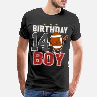 14th Birthday 14 Year Old Dabbing Football Player 14th BDay - Men's Premium T-Shirt