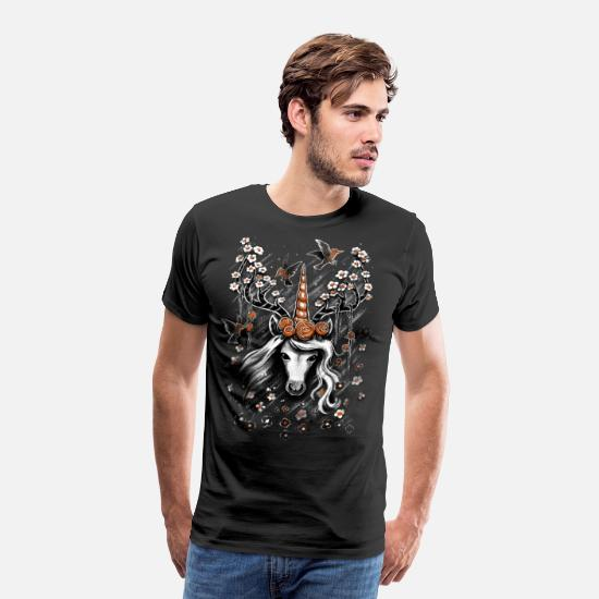 Mythical T-Shirts - Deer Unicorn Flowers - Men's Premium T-Shirt black