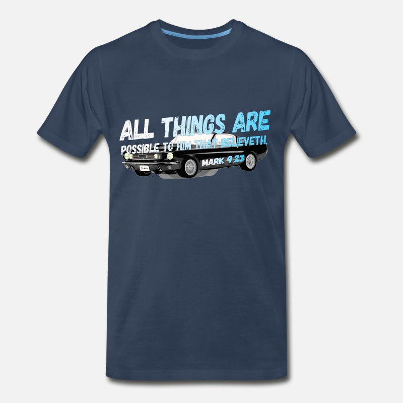 ALL THINGS ARE POSSIBLE MARK 9/23 Bibleverse CAR ! Men's Premium T-Shirt -  navy