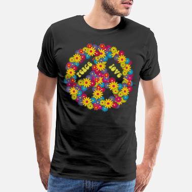 Dressed Peace Love flowers 60's 70's hippie costume - Men's Premium T-Shirt