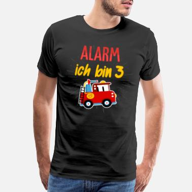 Rush 3rd Birthday Alarm I Am 3 Firefighters Kids Gift - Men's Premium T-Shirt