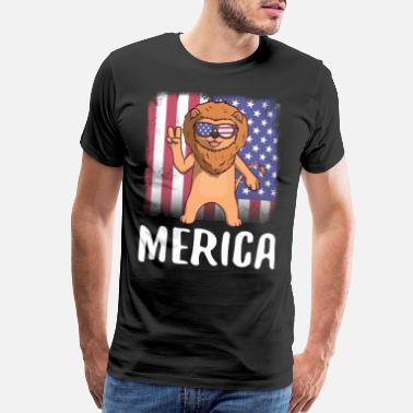 Patriot Merica Lion USA American Flag - Men's Premium T-Shirt