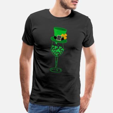 Awesome Irish Green Shamrock St. Patrick Day Wine Drinking - Men's Premium T-Shirt