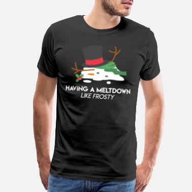 Freezing Snowman Meltdown Christmas Holiday Stress Winter - Men's Premium T-Shirt