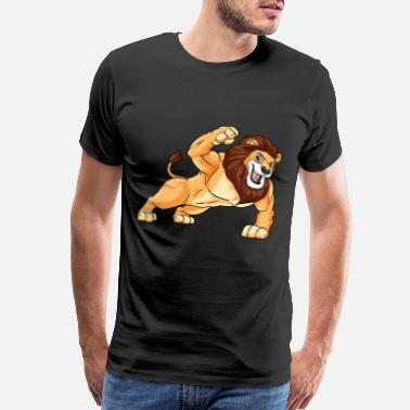 Growth Lion as Bodybuilder with big Muscles - Men's Premium T-Shirt
