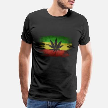 Smoking Pipes Reggae Flagge Hanfblatt Hanf - Men's Premium T-Shirt