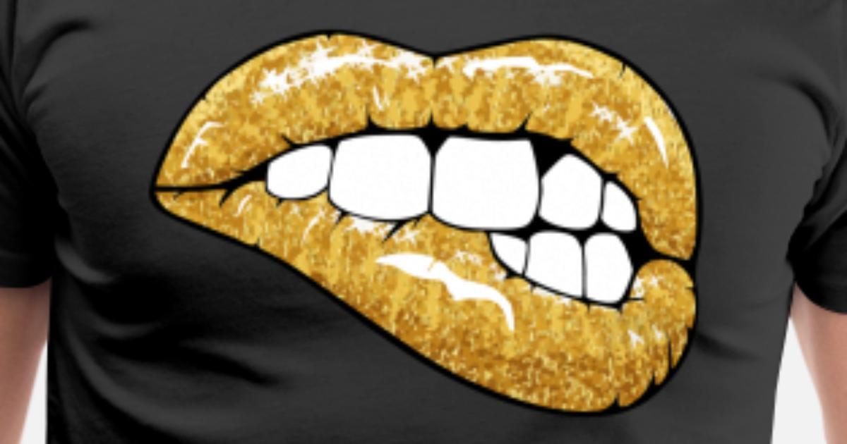 de1844d1308f Men's Premium T-ShirtGolden glitter lips. goljakoff. Choose a size. S