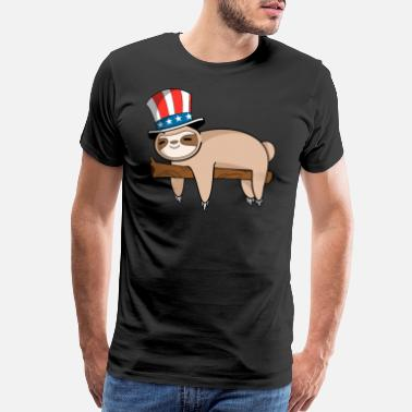 Mermaids Cute Sloth Independence Day T Shirt - Men's Premium T-Shirt