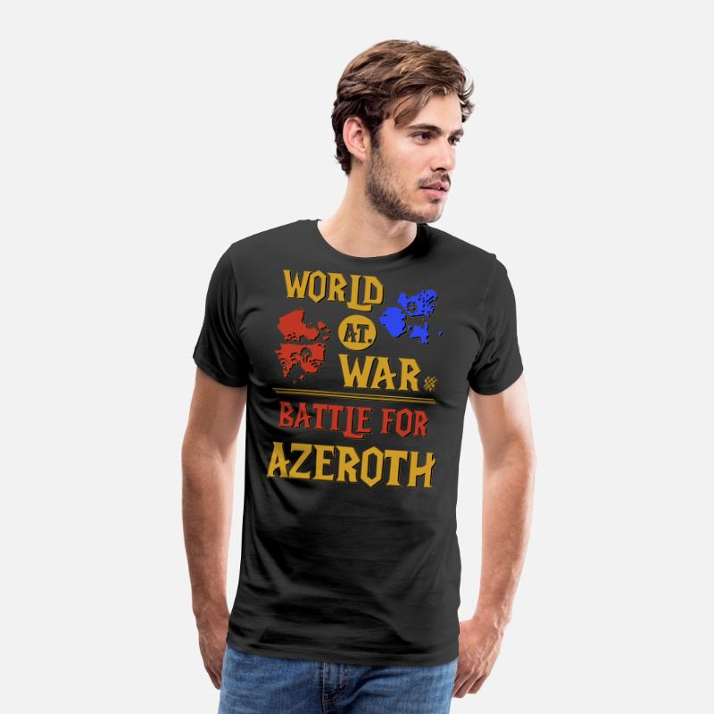 World Of Warcraft Funny T-shirts T-Shirts - WORLD AT WAR BATTLE FOR AZEROTH - Men's Premium T-Shirt black