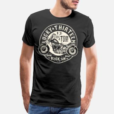 Lucky LUCKY 13 BLACK SIN MOTORCYCLE CHOPPER ROCK - Men's Premium T-Shirt