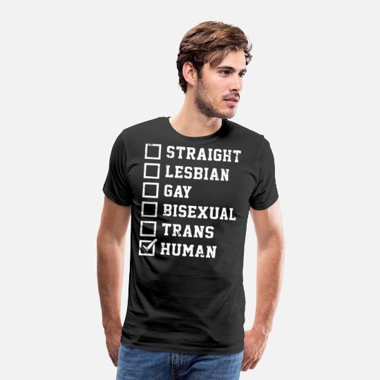 a59b10a9e367 Pride T-Shirts - Straight Lesbian Gay Bisexual Trans Humans Checkli - Men's  Premium T
