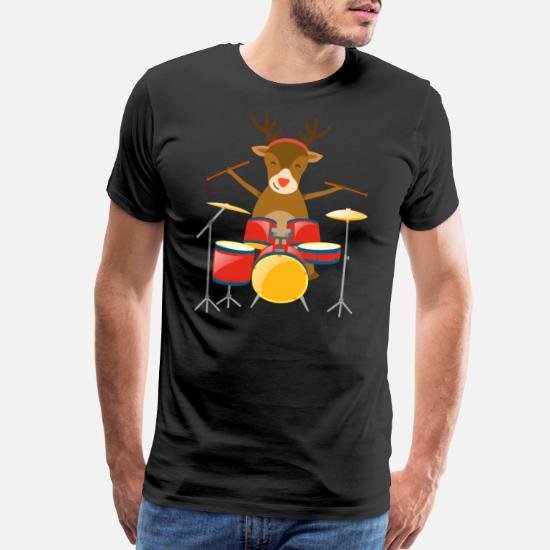 41886eea5189b Men's Premium T-ShirtChristmas Drummer Reindeer Drum Set Holidays  Percussionist Winter Holiday Season