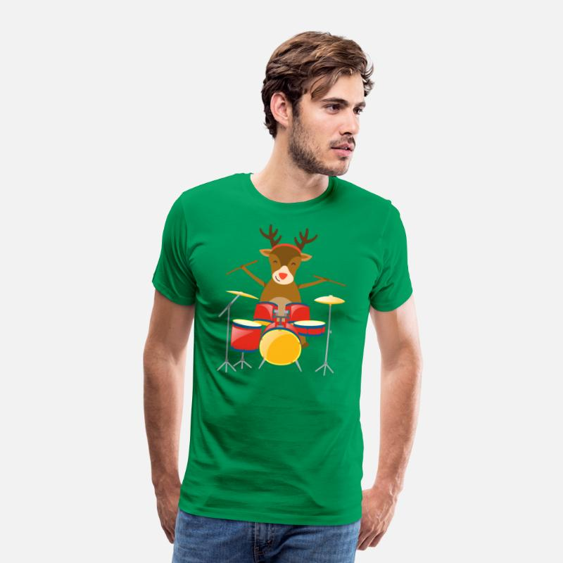299d3b1fd3c75 Christmas Drummer Reindeer Drum Set Holidays Percussionist Winter Holiday  Season Men's Premium T-Shirt | Spreadshirt