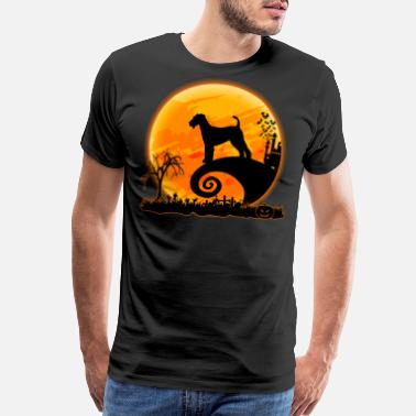 Airedale Terrier Dog Airedale Terrier And Moon Funny Halloween - Men's Premium T-Shirt