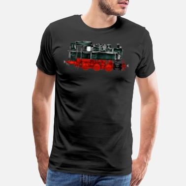 Steam Engine Locomotive Train Railroad Railway Steam Vintage - Men's Premium T-Shirt