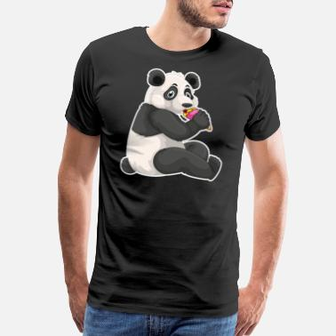 Pink Ice Cream Strawberry Ice Cream Day Cute Panda Bear Licking - Men's Premium T-Shirt