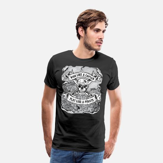 Jack T-Shirts - Work like a captain play like a pirate shirt funny - Men's Premium T-Shirt black