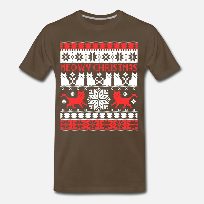 Meowy Christmas Sweater.Meowy Cute Christmas Sweater For Meowy Lover Men S Premium T Shirt Noble Brown