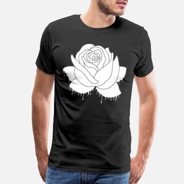 Thorn Graffiti of a white rose - Men's Premium T-Shirt