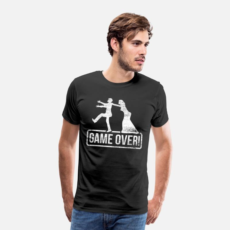 Over T-Shirts - Game Over gift bachelor party alcohol friends - Men's Premium T-Shirt black