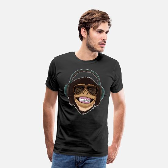 Grin T-Shirts - Cool Monkey With Sunglasses And Headphones - Men's Premium T-Shirt black
