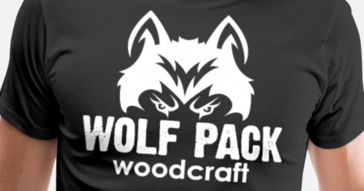 White Wolf Pack Woodcraft Logo Men S Premium T Shirt Spreadshirt