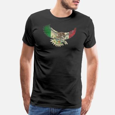 Mexican Design Flying Eagle Vintage Mexican Design Mexican Flag Design For Mexican Pride Outline - Men's Premium T-Shirt