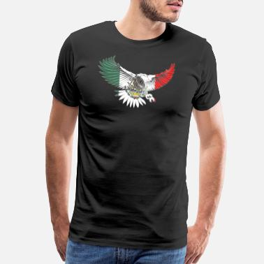 Mexico Flag Eagle Flying Eagle Mexican Design Mexican Flag Design For Mexican Pride OUtline - Men's Premium T-Shirt