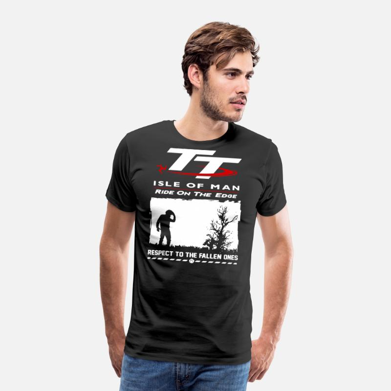 Man T-Shirts - TT isle of man ride on the edge respect to the fal - Men's Premium T-Shirt black