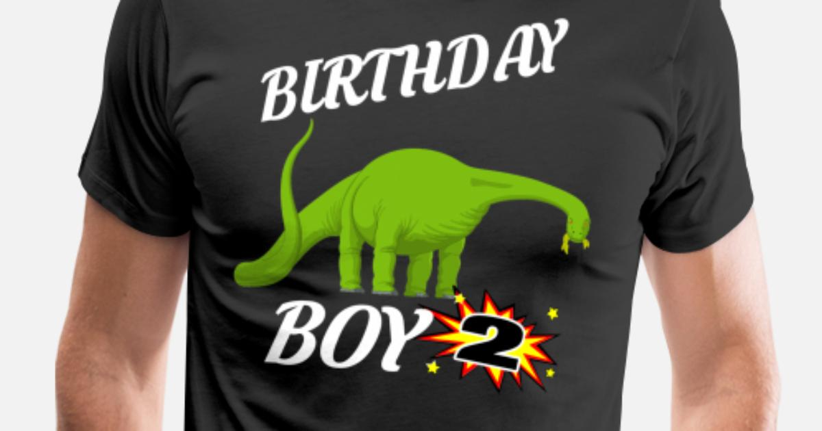 Mens Premium T Shirt2 Years Old Birthday ShirtBrontasaurus GifDesign