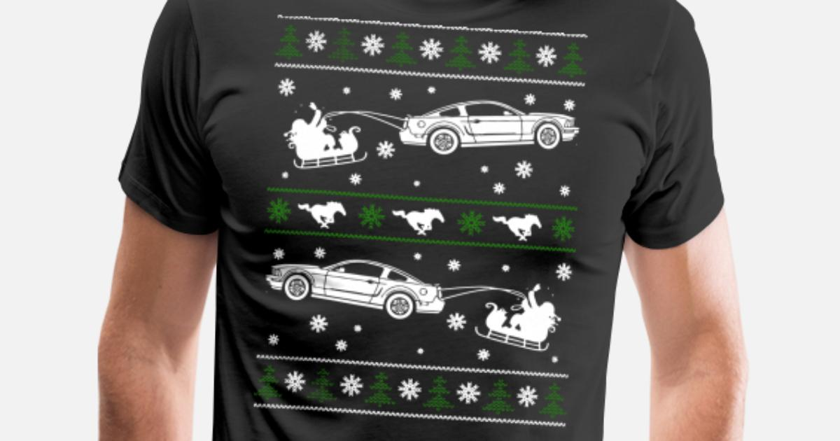 Mustang Christmas Ugly Sweater Mens Premium T Shirt Spreadshirt