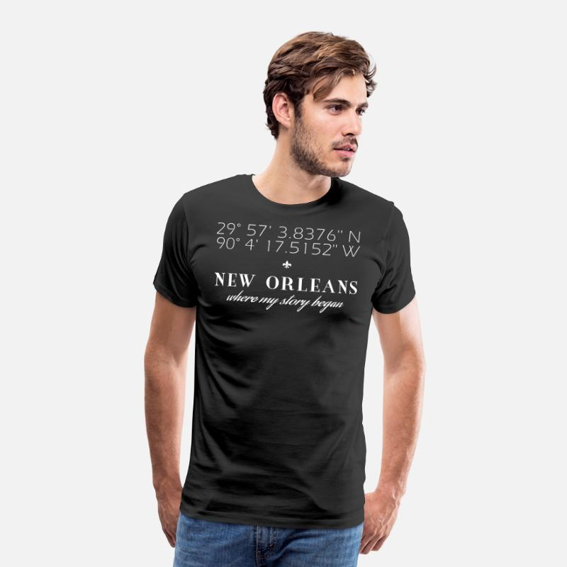 New Orleans T-Shirts - Vector New Orleans Latitude Longitude Story - Men's Premium T-Shirt black