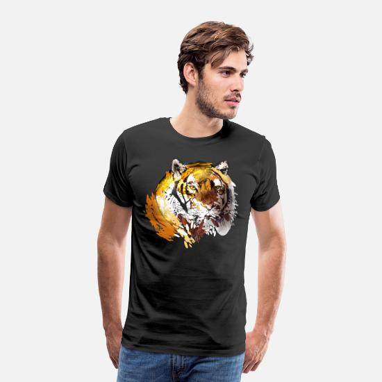 Collections T-Shirts - colorfuli llustration head tiger - Men's Premium T-Shirt black