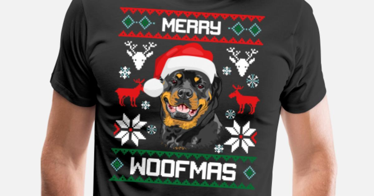 Merry Woofmas Rottweiler Ugly Sweater Christmas by Dr. Feelgood ...