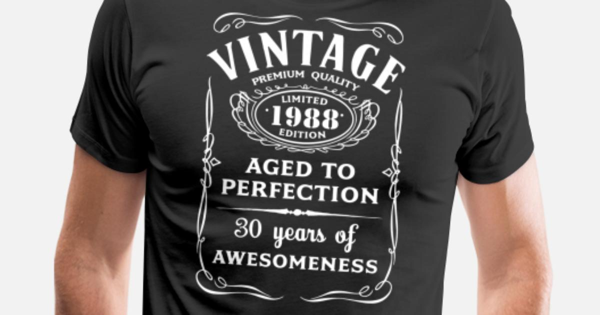 30th Birthday Gifts For Men Vine Premium 1988 T Shirt