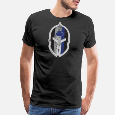 Thin Blue Line Canada Canadian Mounted Police Shirt Thin Blue Line Spartan Helmet - Men's Premium T-Shirt