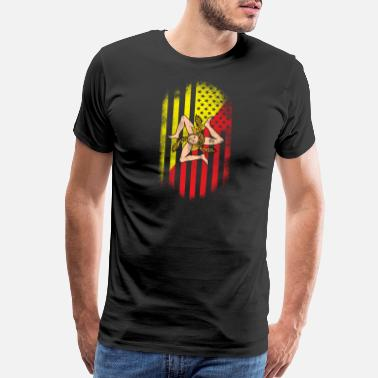 Sicily Sicilian American Flag Sicily and USA Design - Men's Premium T-Shirt