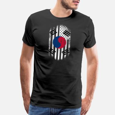 South Korean American Flag Korean American Flag Korea and USA Design - Men's Premium T-Shirt
