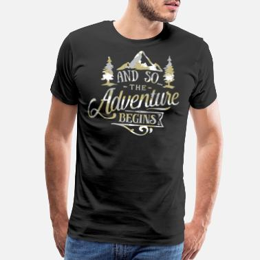 Exploring With Josh The Adventure Begins Vintage Look Camo - Men's Premium T-Shirt
