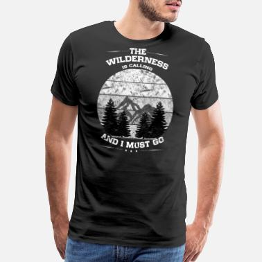 I Love Wolves Wilderness Calling Distressed Mountains Silhouette - Men's Premium T-Shirt