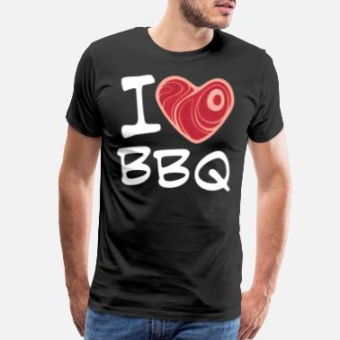 Red Meat I Love BBQ with White Text - Men's Premium T-Shirt