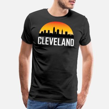 Cleveland Sunset Skyline Silhouette of Cleveland OH - Men's Premium T-Shirt