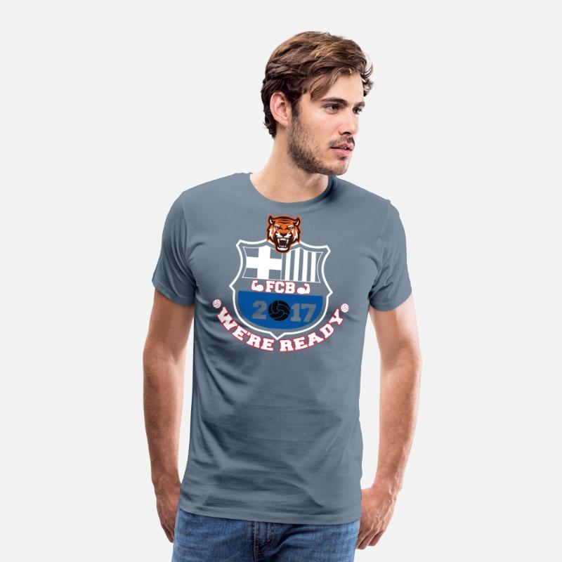 huge selection of 22111 63c2b FC Barcelona Football Shirts 2017 Men's Premium T-Shirt - steel blue