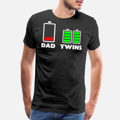 a3e68d973 Mens Tired Dad Low battery Twins Full Charge funny - Men's Premium T-Shirt.  Front
