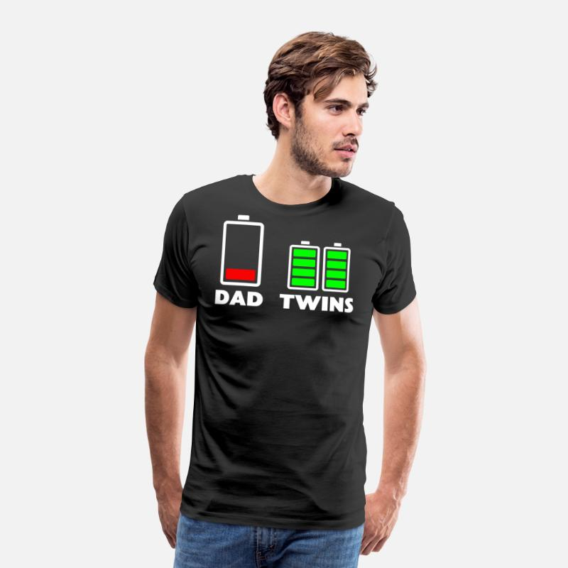 4ad56a051 Dad Shirts T-Shirts - Mens Tired Dad Low battery Twins Full Charge funny -